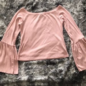 Pink Bell Sleeve Off Shoulder Top
